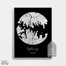 sydney city map print modern black and white sydney circle home