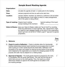 Sample Agendas For Board Meetings Board Meeting Agenda 11 Free Samples Examples Format