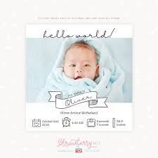 Template For Birth Announcement Newborn Baby Announcement Template Square Strawberry Kit