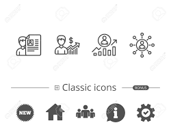 networking for a job cv business networking and get a job line icons work results