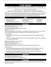 Retail Resume Objective Examples Seasonal Retail Resume Sample Monster Com