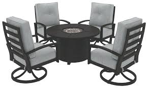 castle island dark brown round fire pit table set clearance uk