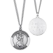 amazing saint necklace engravable christopher medal pendant in sterling silver 3 line personalized create your own
