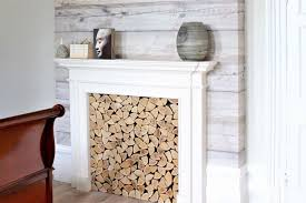 white washed wood fireplace