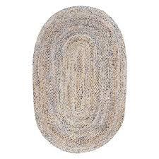 nuloom hand braided eliz jute 5 ft x 8 ft oval off white