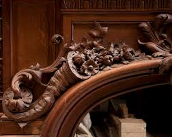 exceptional antique oak wood fireplace made after the model of the fireplace in the hercules salon
