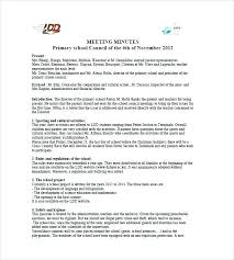 Format For Minutes Writing Primary School Meeting Minutes Format Of Writing Standard