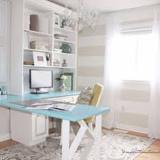 home office makeovers. Corner Desk With Turquoise Top Home Office Makeovers M