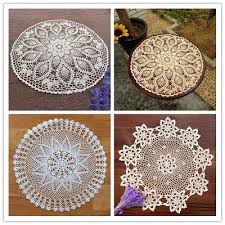 round vintage crochet cotton lace table cloth cover small tablecloth 60cm fl