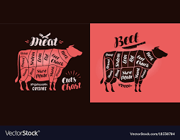 Meat Chart Meat Cut Charts Food Butcher Shop Beef Concept