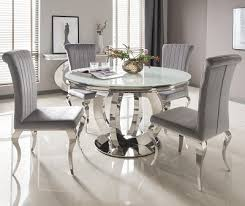glass dining furniture. Serge Living | Riviera White Round Glass Dining Table And 4 Or 6 Velvet Chairs (2 Options) Furniture