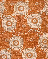 rugsville kelly bloom orange modern rug   rugsvillecouk