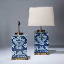 blue and white lamps. Pair Of Medium Blue \u0026 White Square Ceramic Lamps On Distressed Brass Bases And D