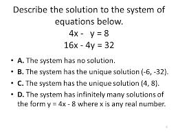6 describe the solution to the system of equations