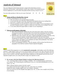 ishmael essay assignment analysis essay of ishmael 200 pts