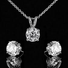 3ct radiant round simulated diamond pendant 3ct tw simulated diamond veneer post earrings set