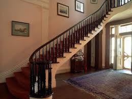 Banister Handrails For Stairs Stairs ideas with pink wall and pictures plus  wooden floor and carpet