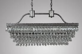 antique silver crystal glass drop rectangular chandelier
