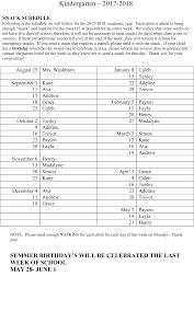 snack schedule davids star lutheran school kindergarten classroom snack schedule