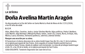 Esquela de Doña Avelina Martín Aragón : Esquela | Esquela en El Norte de  Castilla