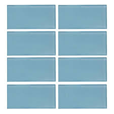 caribbean water gloss 3 in x 6 in x 8 mm glass wall tile