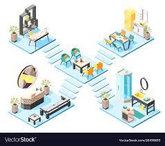Dormitory Design Concept Hostel Isometric Design Concept