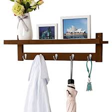 Coat Rack And Shelf Custom Amazon LANGRIA Coat Rack Shelf Coat Rack WallMounted Bamboo