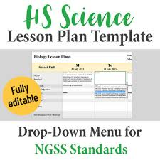 Lesson Plan Templates High School High School Science Lesson Plan Template Drop Down Ngss Standards
