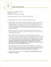 Example Of Minutes Meeting Document Sample Template Doc Format Pdf