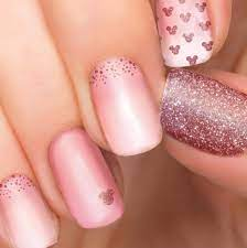 Rose Gold Glitter Blush Ombre Minnie and Mickey Mouse nail