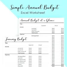 Budget For Young Adults Monthly Budget Template Annual Spreadsheet Simple Home Full