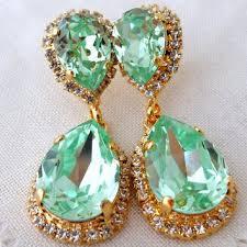 clear mint crystal chandelier earrings dangle earrings drop ea