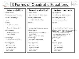 3 forms of quadratic equations vertex y