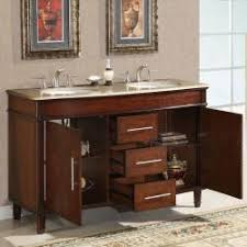 55 inch double sink bathroom vanity:  silkroad exclusive travertine top  inch double sink vanity cabinet