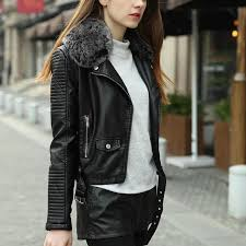 women winter thick leather jacket with fur collar pink black er motorcycle leather jackets women leather coat jaqueta couro high quality coat armor