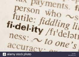 word fidelity in dictionary Stock Photo ...