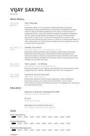 team leader cv examples team manager resume samples visualcv resume samples database