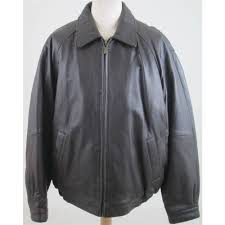 perry ellis size l brown leather jacket