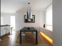 Eased Edge Profile Top Added Benches Minimalist Dining Room Design - Track lighting dining room