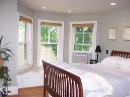 Bedroom:Astonishing Bedroom Bay Window Decor With Orange Padded Seat And  White Blinds Plus White