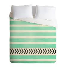 deny designs mint stripes and arrows multicolored king duvet cover