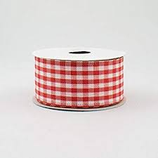 Red White Gingham Check Wired Ribbon (1.5 Inch x ... - Amazon.com