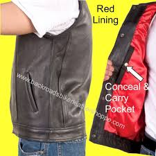 details about leather motorcycle biker club vest outlaw style pkt 1 piece back red lining
