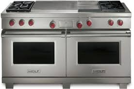 wolf dual fuel range. Interesting Fuel Wolf DF604GF  Stainless Steel With Red Knobs And Dual Fuel Range
