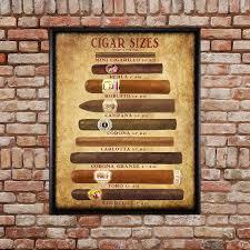 Cigar Chart Poster Cigar Art Cigar Size Chart Cigar Poster Tobacco Print