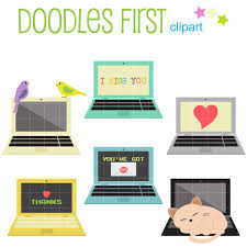 laptop clipart. cute laptop set digital clip art for scrapbooking card making cupcake toppers paper crafts clipart
