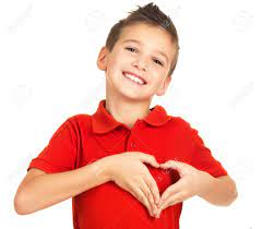 Portrait Of Happy Boy With A Heart Shape Isolated On White Background Stock  Photo Picture And Royalty Free Image Image 23190245