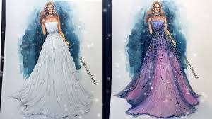 Youtube Fashion Design Sketches Fashion Sketch Gown Speed Painting Watercolor And Pencils Beginners Level