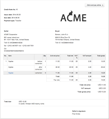Sample Credit Note Invoice Credit Note