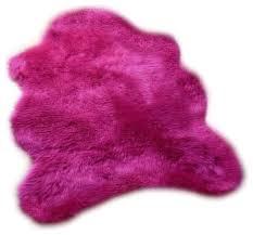 highlighter hot pink gy faux fur sheepskin accent rug